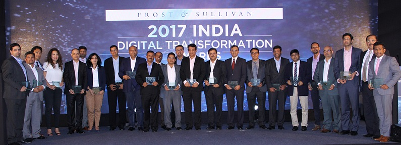 The award recipients at 2017 Frost & Sullivan India Digital Transformation Awards