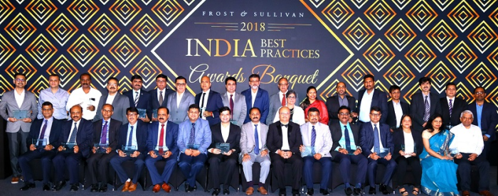 Award recipients at Frost & Sullivan's 2018 India Best Practices Awards Banquet