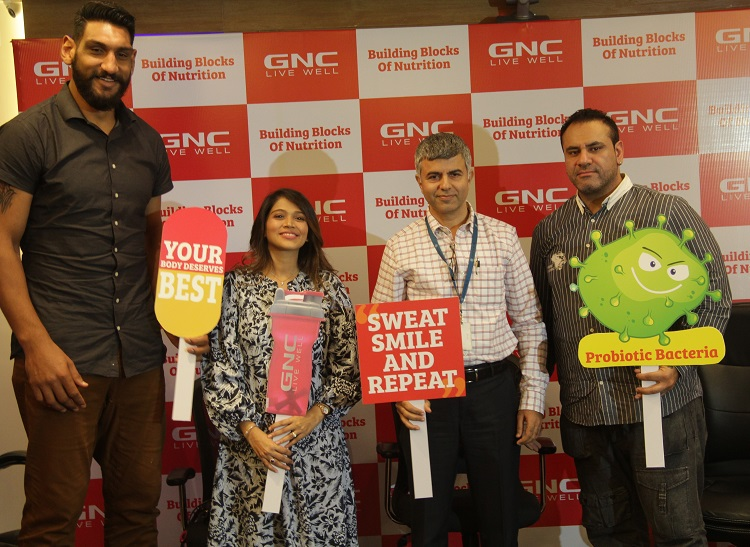 L-R Mr. Satnam Singh, Basketball Player- NBA, Ms. Noorie Gada- Professional Sports Nutritionist, Mr. Shadab Khan-CEO, GNC India, Mr. Sheru Aangrish-Co founder at GNC India panel discussion #BuildingBlocksofNutrition