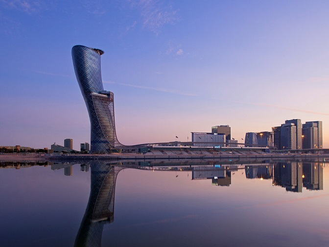 Exterior of the newly opened Andaz Capital Gate Abu Dhabi