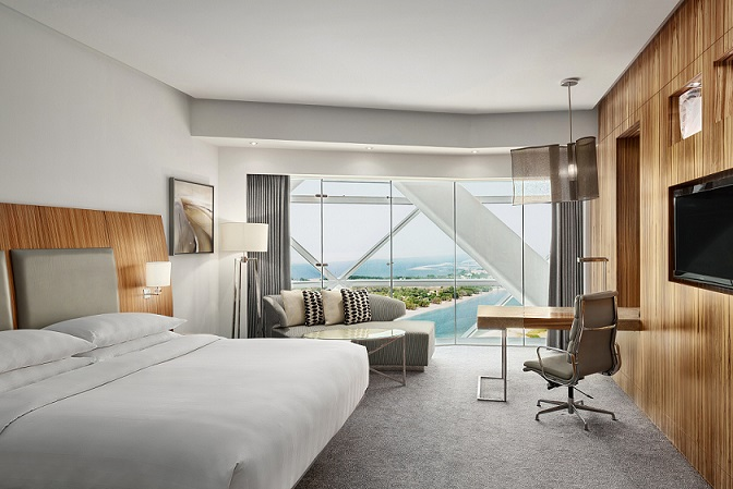 King guest room of the newly opened Andaz Capital Gate Abu Dhabi