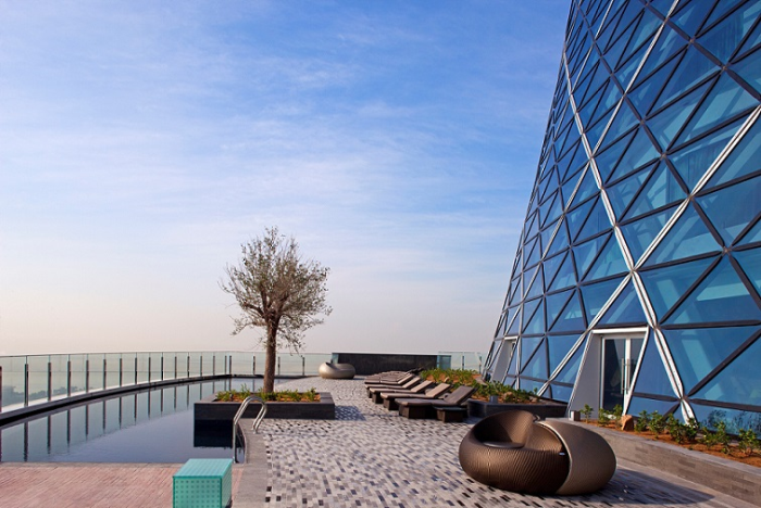 Outdoor pool of the newly opened Andaz Capital Gate Abu Dhabi
