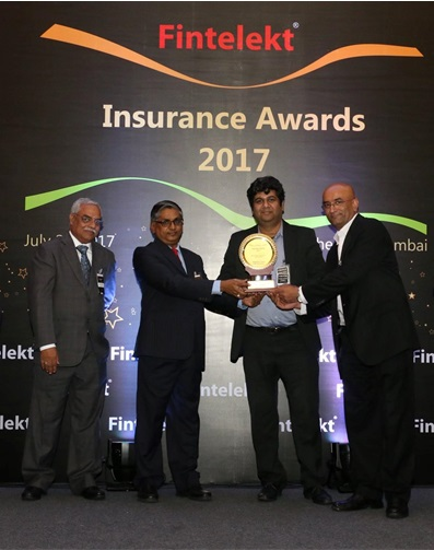 The Award is presented by (from L to R) R Chandrasekaran, Secretary General, General Insurance Council and V. Manickam - Secretary General, Life Insurance Council to Subhrajit Mukhopadhyay - Chief & Appointed Actuary, Edelweiss Tokio Life and Nilesh Parmar - COO, Edelweiss Tokio Life at the Fintelekt Insurance Awards 2017