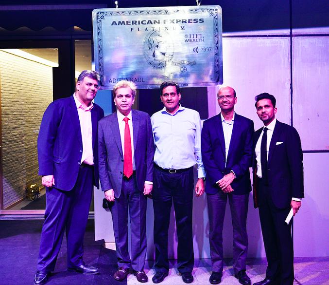 From L to R - Karan Bhagat, MD & CEO, IIFL Wealth Management, Manoj Adalaka, CEO, American Express Banking Corp. India, Nirmal Jain, Founder & Chairman, IIFL Group, Venkataraman R, Executive Director, IIFL and Yatin Shah, Executive Director, IIFL Wealth Management