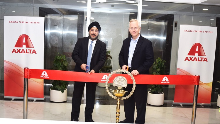 "<b>Sobers Sethi (Left), Axalta Vice President and President, Emerging Markets and Robert Bryant, Executive Vice President and Chief Financial Officer of Axalta cut ribbon for New India Headquarters</b>""></td> </tr> <tr> <td width="