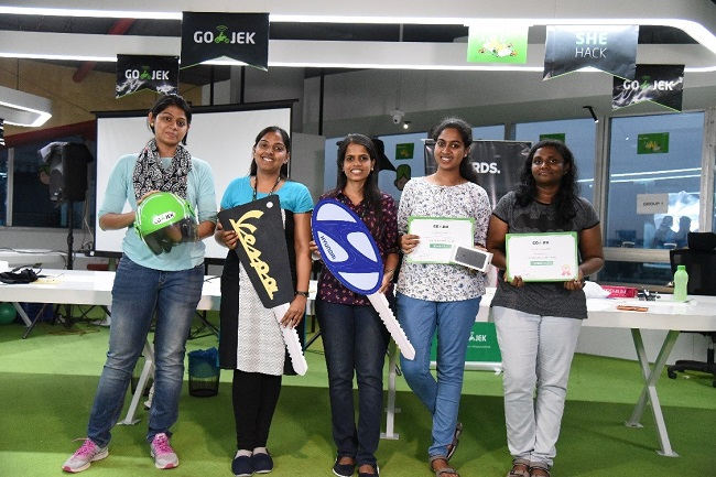 From left to right, second prize winners Divya Choudhary and Abinaya Mahendrian from team Superwoman, Jayshree Anand from team Alchemy, Sapna Jayavel and Janani Balasubramanian from team Nebula