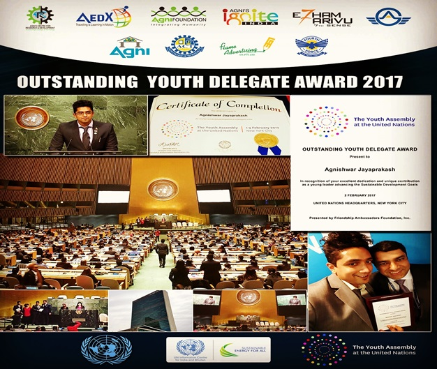 Agnishwar being presented the Prestigious United Nations -