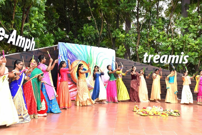 Students of Treamis World School perform a traditional Garba dance