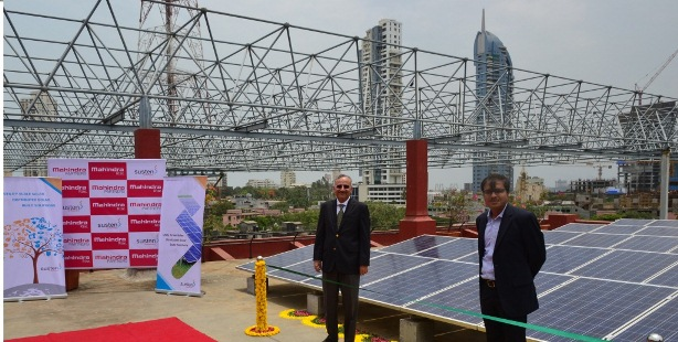 Mr. Ulhas Yargop, Group President - IT Sector, Group CTO & Chairman, Group Sustainability Council, Mahindra Group & Mr.  Basant Jain, CEO, Mahindra Susten inaugurated the solar PV installation on the rooftop of the iconic Mahindra Towers, Mumbai