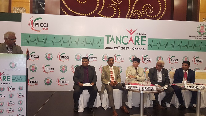 From Left to Right - Dr. T N Ravishankar, President, Indian Medical Association, Tamil Nadu State Branch (speaking), Mr. Ruban Hobday, Head, FICCI TNSC, Mr. Ar Rm Arun, Chairman, FICCI Tamil Nadu State Council, Dr. J Radhakrishnan IAS, Principal Secretary to Govt. Of Tamil Nadu, Mr. P. Murari IAS (Retd),  Advisor to FICCI President and Former Secretary to President of India & Dr. GSK Velu, Convener Healthcare Panel, FICCI TNSC and Chairman & Managing Director, Trivitron Healthcare