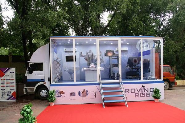 A da Vinci Surgical Robot mounted on vehicle in Odisha