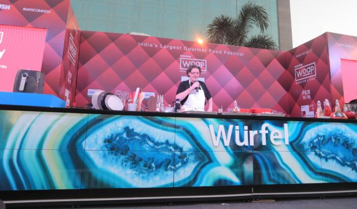 British Chef Marco Pierre White cooking in a Würfel all-glass Sicis kitchen