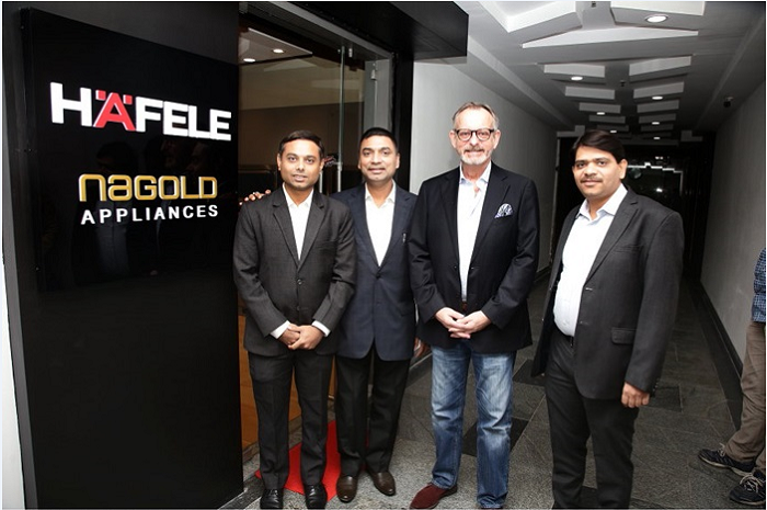 (L-R): Mr. Sudhir Patil - Business Head - Appliances, Häfele India, Mr. Partha Chakraborty - Director - Finance & Operations, Häfele India, Mr. Jürgen Wolf - Managing Director, Häfele South Asia, Mr. Nilesh Dave - Director - Sales, Häfele India