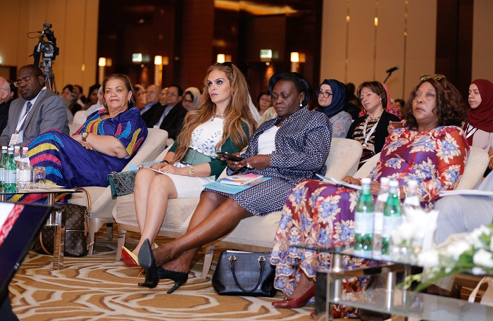 Dr Rasha Kelej CEO of Merck Foundation with Hon. Margaret Mensah-Williams, Chairperson of the National Council, Hon. Sarah Achieng Opendi, Minister of State of Health, and  Hon. Zuliatu Cooper, Minister of Health & Sanitation, Republic of Sierra Leone