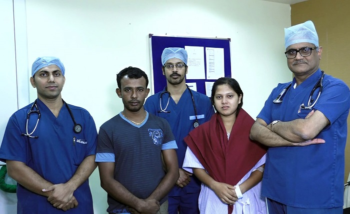 (R-L) Prof. (Dr.) Rabin Chakraborty, Senior Vice-Chairman, Dr. Sumanto Mukhopadhyay and Dr. Soumya Patra, Consultants, patient's husband and the patient Umrao Bano, who had undergone a successful insertion of an umbrella device, Amplatzer Vascular Plug (AVP), to correct a complex heart defect since her birth at Medica Superspecialty Hospital in Kolkata on Tuesday