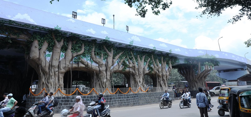 Principal, Pune creates one of the largest flyover art installations in India