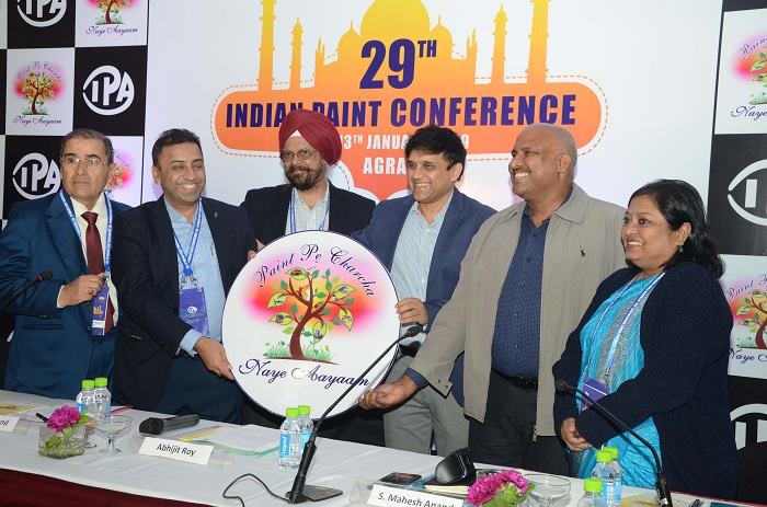 Mr. P K Khanna, Mr. Anuj Jain, Mr. K B S Anand, Mr. Abhijit Roy, Mr. S Mahesh Anand and Ms. Nita Karmakar at the launch of 29th Indian Paint Conference at Agra