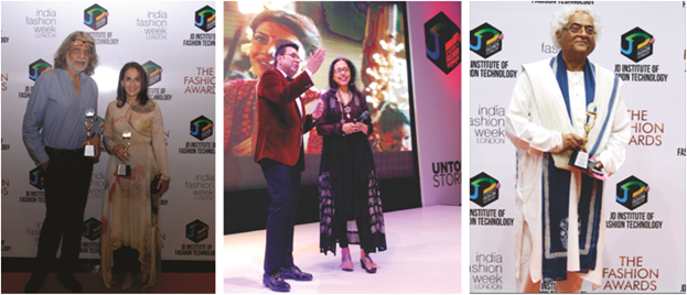 <b>From Left to Right: Fashion designers Meera and Muzaffar Ali at The Fashion Awards 2016, R.C. Dalal, Executive Director, JD Institute of Fashion Technology with designer Anju Modi at The Fashion Awards 2016, noted Indian designer Rajeev Sethi at The Fashion Awards 2016</b>&#8220;></td> </tr> <tr> <td width=