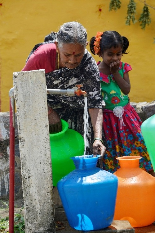 Safe Water Distributions point enabled by JICA's project in Dharmapuri Village, Tamil Nadu