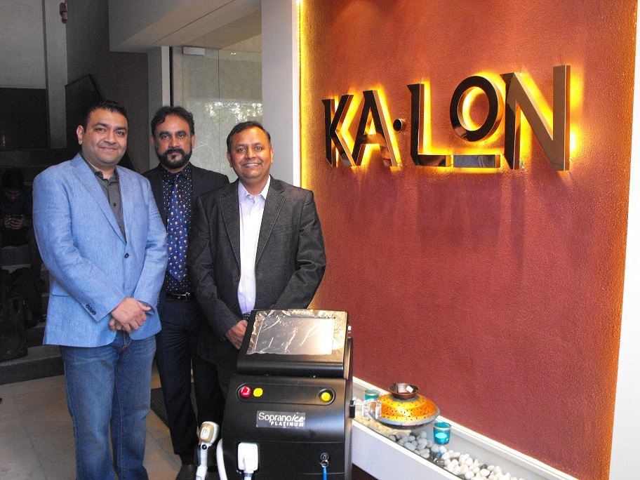 Left to Right - Kaushal Shah, Founder, Ka-Lon Skin Clinic, Soumen Dutta, CEO & MD, Alma Lasers, India & SAARC, Parthesh Vakil, Founder & CEO, Ka-Lon Skin Clinic
