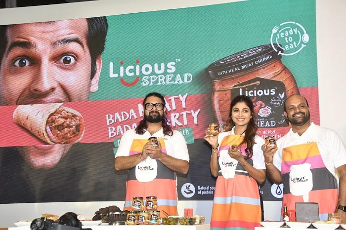 Bollywood actress Shilpa Shetty Kundra along with Abhay Hanjura and Vivek Gupta Co-founders launches Licious Spreads
