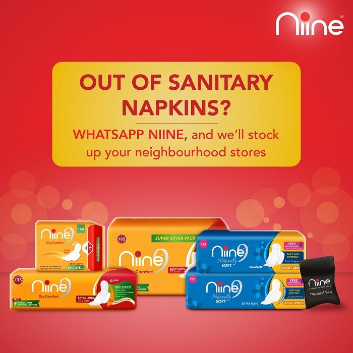 Can't Find Sanitary Napkins, WhatsApp Us, Says Niine Sanitary Napkins
