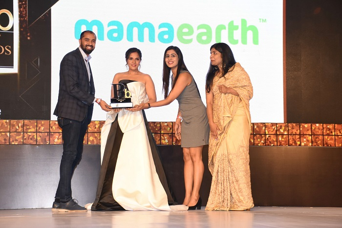 "Mamaearth Awarded As ""One of the Best Brands"" in India (Mr. Varun Alagh and Mrs. Ghazal Alagh receiving the award)"