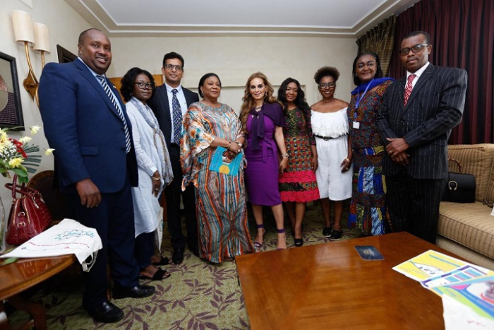 Dr. Rasha Kelej, CEO of Merck Foundation with H.E. REBBECA AKUFO-ADDO, the First Lady of Ghana during the meeting to discuss the selection of the right candidates for the one year online diabetes diploma
