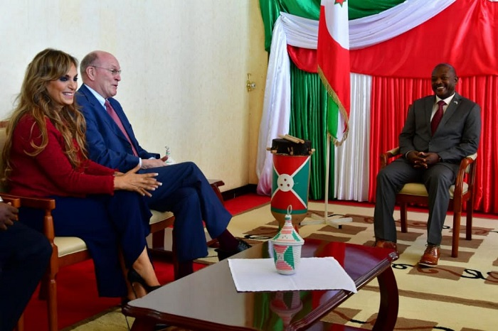 Prof. Dr. Frank Stangenberg Haverkamp, Chairman of the Executive Board of E. Merck KG and the Chairman of Merck Foundation Board of Trustees and Dr. Rasha Kelej, CEO of Merck Foundation with The President of Burundi, H.E. PIERRE NKURUNZIZA to discuss the health capacity programs by Merck Foundation