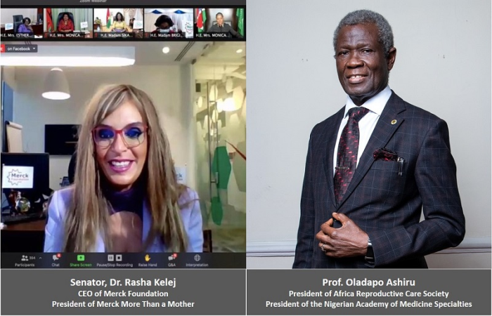 Senator, Dr. Rasha Kelej, CEO of Merck Foundation & President of Merck More Than a Mother with Prof. Oladapo Ashiru, President of Africa Reproductive Care Society & President of the Nigerian Academy of Medicine Specialties