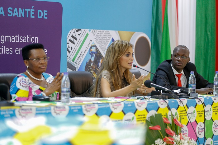 Dr. Rasha Kelej, CEO of Merck Foundation and President, Merck More Than a Mother with H.E. MADAM DENISE NKURUNZIZA, The First Lady of Burundi and Ambassador, Merck More Than a Mother addressing the journalists during the Health Media Training
