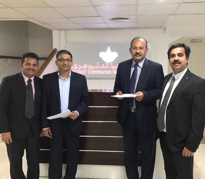 From left to right: Mr. Sabarinathan (Vice President Sales – Beyontec), Mr. Vivek Sethia (Cofounder – Beyontec), Mr. Philip K Philip (Group CEO – Muscat Insurance Company), Mr. Tiju John (IT Manager – Muscat Insurance Company)