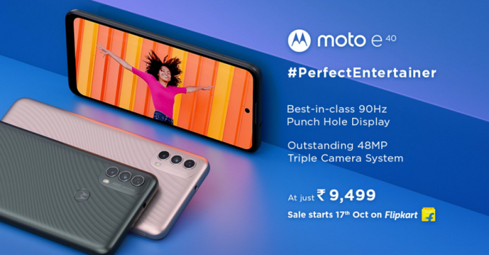 The moto e40 will be available at an exceptional price of just Rs. 9,499, exclusively on Flipkart, starting 17th October 2021