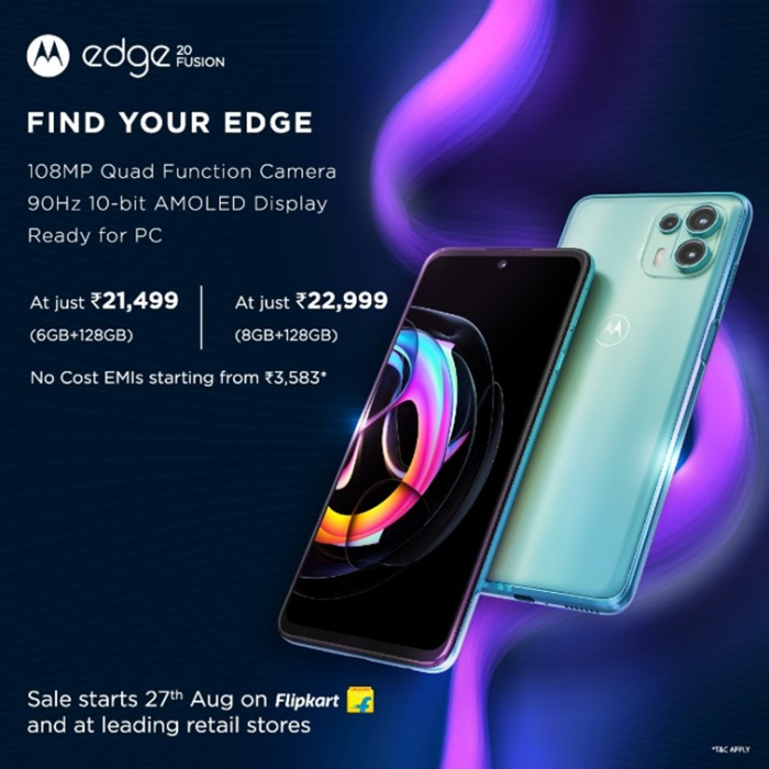 Motorola edge20 Fusion With 108MP Quad Function Camera, 10-Bit 90Hz AMOLED Display, 13 Global 5G Bands and More, Goes on Sale Today on Flipkart and Leading Retail Stores