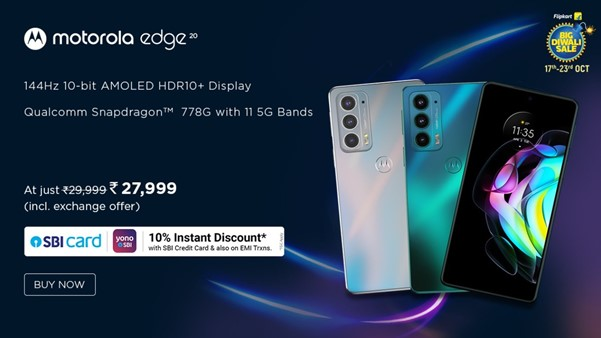 The Motorola edge 20 will be available for just Rs. 27,999 during Flipkart's Big Diwali Sale from 17th October 2021