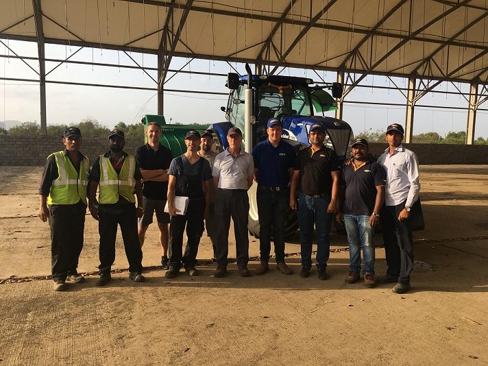 Teams of New Holland Agriculture & Antony Lara with the 230 HP T7070 tractor: (Lest to right) Tractor Operators, Markus Bock (Compost System), Szymon Glowinski (Compost Systems), Leopold Hochenauer (Tract Turn- Implement), Stewart Klevan (Consultant- Antony Lara), William Ellis (CNHI- UK), Paresh Pradhan (CNHI India - CCM), C. Vivek (CNHI India - FSE) & Mangesh Sarsar (Manager- Antony Lara)