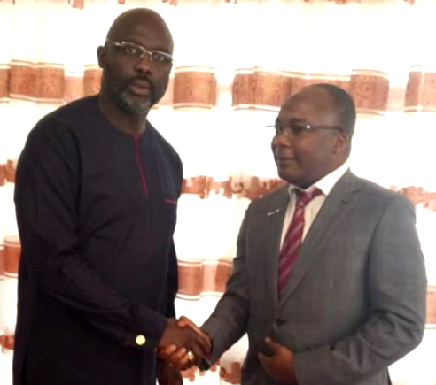 Mr. Mahmood Ahmadu along with the President of Liberia, His Excellency, Mr. George Weah