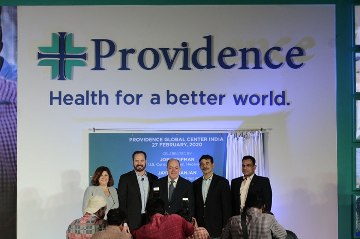 (L to R) Mrs. Tabitha Lieberman, Senior Vice President, Information Services, Providence, Mr. B. J. Moore - Executive Vice President and Chief Information Officer, Providence, Mr. Joel Reifman, US Counsel General – Hyderabad, Mr. Jayesh Ranjan - Principal Secretary of the Industries & Commerce (I&C) and Information Technology (IT), Government of Telangana and Mr. Murali Krishna - SVP and Country Manager, Providence India at the launch of Providence's Global Innovation Center in Hyderabad