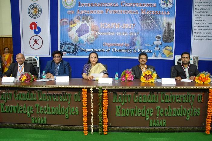 (L-R) Prof. Sreekantha Babu Jonnalagadda, Dr. A. Ashok, VC - RGUKT, Smt. Ranjeev R. Acharya, Spl CS, Higher Edu, Govt. of Telangana, Prof. Apparao M. Rao and Dr. Ravi Varala, Convenor- ICAFM 2017