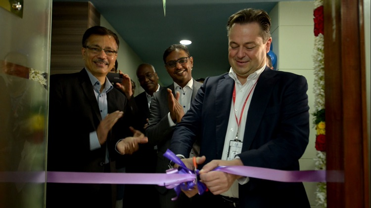 Mr Andreas Burger (R), Senior VP, Power Solutions, Industrialization at Vestas and Mr Bhupendra Bhate (L), Chief Digital Officer at L&T Technology Services, formally launch the development center in Chennai, India with a ribbon cutting ceremony.