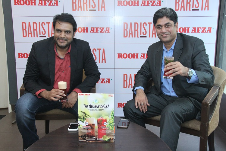 (L-R) Mansoor Ali, CSMO, Hamdard India and Puneet Gulati, CEO, Barista unveiling the two new drinks
