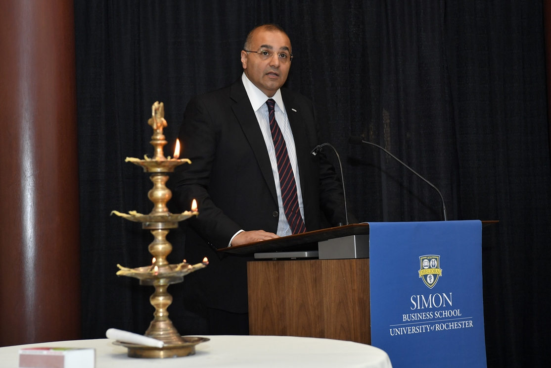 Mr. Kapil Wadhawan, Group Chairman WGC addresses the faculty at Simon Business School, University of Rochester at the Plaque ceremony
