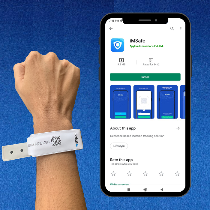Spykke's COVID Safety Wristband along with the Unique Tracking App