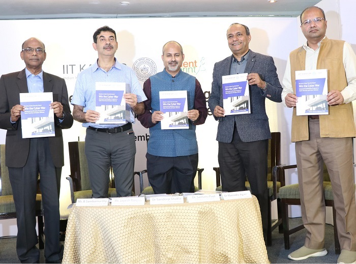 (L-R) Shri. B Sambamurthy, Independent Director, National Securities Depository Ltd.; Shri Jayesh Ranjan, IT Secretary, Govt. of Telangana; Dr. Sandeep Shukla, Professor, IIT Kanpur; Dr. Santanu Paul, Co-Founder & CEO, TalentSprint & Dr. Manindra Agrawal, Professor, IIT Kanpur; releasing the brochure of IIT Kanpur and TalentSprint partnership for the development of Cyber Security Experts to Combat Cyber Threats
