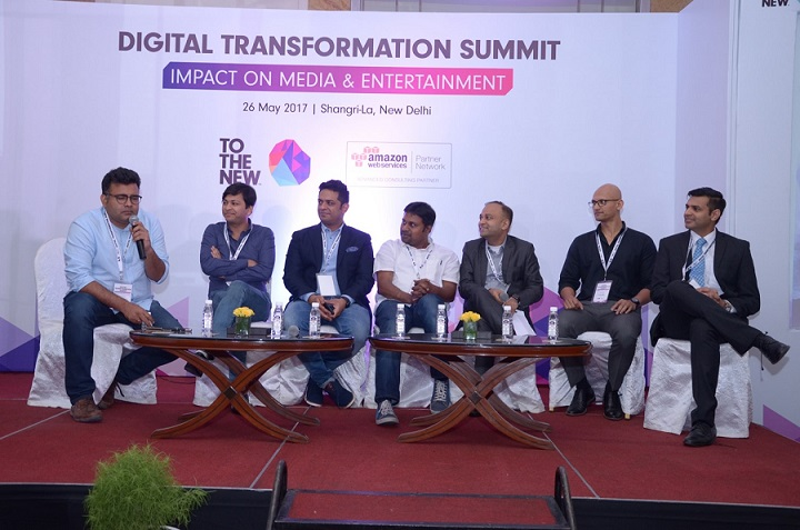From Left to right: Mr. Sudipta Banerjee, CTO, Wynk, Mr. Ashish Bhansali, Product Head, ALT Balaji, Mr. Bharat Guptam, CMO, Jagran New Media, Mr. Mahesh Subramanian, CTO, ScoopWhoop Media, Mr. Deepak Mittal, CEO, TO THE NEW, Mr. Retesh Gondal, Technology Head, ABP News Network, Mr. Sushant Rabra, Director, Management Consulting, KPMG