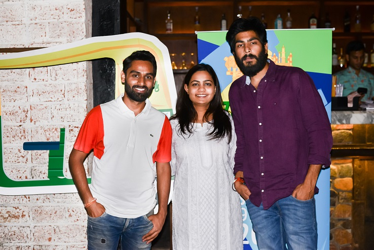 """<b>Chirag and Chandrakant, (Co-founders, Routern) with  Smriti Saxena (Travel Writer and Travel Samosa founder)</b>""""></td> </tr> <tr> <td width="""
