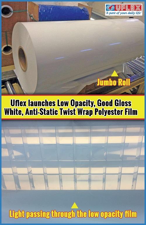 Uflex launches Low Opacity, Good Gloss White, Anti-Static Twist Wrap Polyester Film