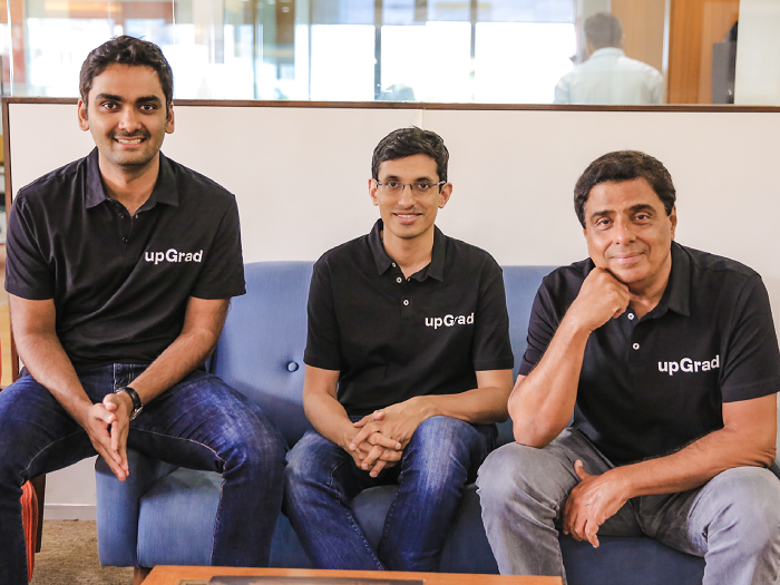 (L-R) Phalgun Kompalli, Co-Founder, Mayank Kumar, Co-Founder & MD, and Ronnie Screwvala, Executive Chairman & Co- Founder, upGrad