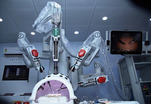 View of the da Vinci Surgical Robot by Intuitive Surgical that wheels into Bhopal hospitals on July 24