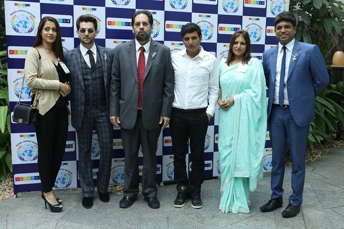 (L-R) Rukmini Sahay, Neil Nitin Mukesh, Rustom Kerawalla, Afroz Shah, Kavita Sahay, Shim Mathew at the opening ceremony of VHMUN